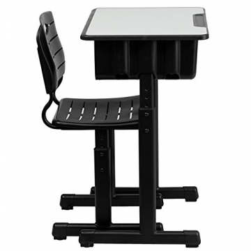 Side View Of Flash Furniture Adjustable Height Student Desk And Chair
